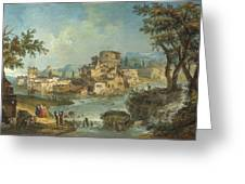 Buildings And Figures Near A River With Rapids Greeting Card