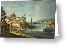 Buildings And Figures Near A River With Shipping Greeting Card
