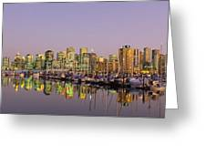 Buildings Lit Up At Dusk, Vancouver Greeting Card