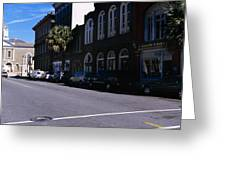 Buildings On Both Sides Of A Road Greeting Card