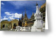 Built Structures Inside Shwezigon Pagoda Greeting Card by Sami Sarkis