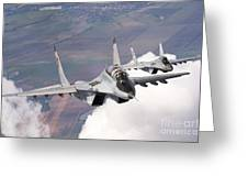 Bulgarian And Polish Air Force Mig-29s Greeting Card