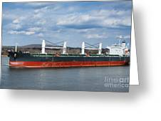 Bulk Carrier Cargo Ship Sailing On River Greeting Card