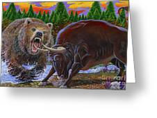 Bull And Bear Greeting Card