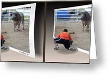 Bull Challenge - Gently Cross Your Eyes And Focus On The Middle Image Greeting Card