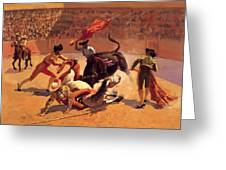 Bull Fight In Mexico 1889 Greeting Card