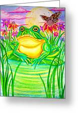 Bull Frog And The Moon Greeting Card