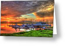 Bull River Marina Sunrise 2 Sunrise Art Greeting Card
