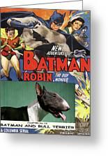 Bull Terrier Art Canvas Print - Batman Movie Poster Greeting Card