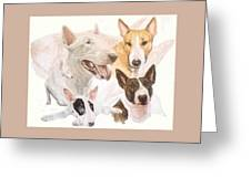 Bull Terrier W/ghost Greeting Card