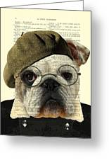 Bulldog Portrait, Animals In Clothes Greeting Card