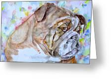 Bulldog - Watercolor Portrait.7 Greeting Card