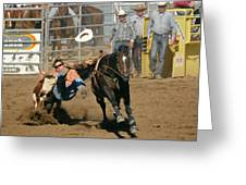 Bulldogging At The Rodeo Greeting Card by Christine Till