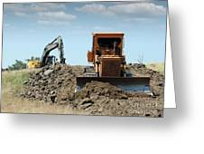 Bulldozer And Excavator On Road Construction Greeting Card