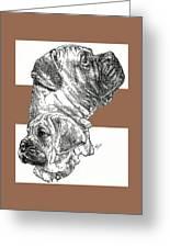 Bullmastiff And Pup Greeting Card