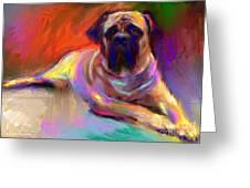 Bullmastiff Dog Painting Greeting Card