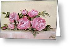 Bunch Of Pink Roses Painting Greeting Card