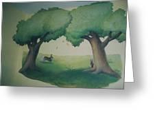 Bunnies Running Under Trees Greeting Card