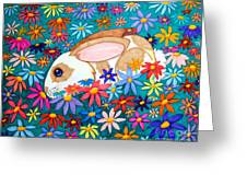 Bunny And Flowers Greeting Card