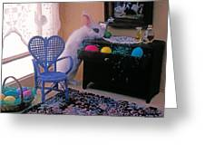 Bunny In Small Room Greeting Card by Garry Gay