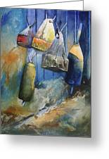 Buoys On The Fence Greeting Card