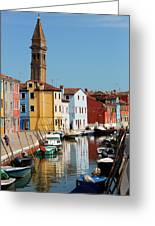 Burano An Island Of Multi Colored Homes On Canals North Of Venice Italy Greeting Card