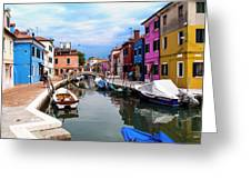Burano Canal And Homes Greeting Card