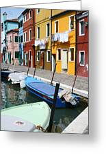 Burano Corner With Laundry Greeting Card