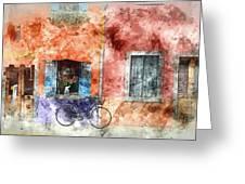 Burano Italy Digital Watercolor On Photograph Greeting Card