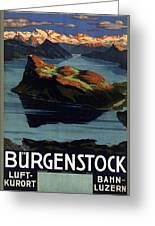 Burgenstock - Lake Lucerne - Switzerland - Retro Poster - Vintage Travel Advertising Poster Greeting Card