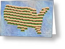 Burger Town Usa Map Greeting Card