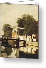 Burgwal Met De Hagebrug Te Haarlem Greeting Card
