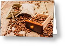 Burlap Bag Of Coffee Beans And Drawer Greeting Card