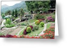 Burma Village Garden And Pond Greeting Card