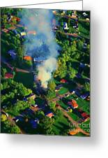 Burnin Down The House Aerial Single Family Home On Fire  Greeting Card