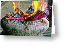 Burning Joss Sticks Greeting Card