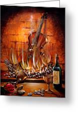 Burning Violin Greeting Card