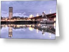 Burnside Bridge Waterfront Portland Oregon Greeting Card