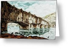 Burnt Covered Bridge Greeting Card