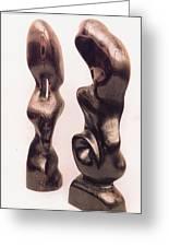 Burnt Sculptures Pair Greeting Card by Lionel Larkin
