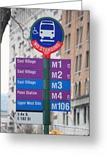 Bus Stop Sign In New York City Greeting Card