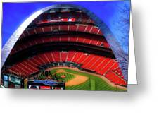Busch Stadium A Zoomed View From The Arch Merged Image Greeting Card