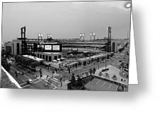 Busch Stadium From The East Garage Black And White Greeting Card