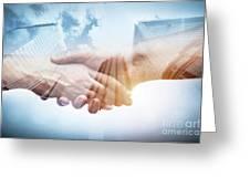 Business Handshake Over Modern Skyscrapers, Double Exposure. Greeting Card