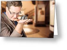Business Man With Service Bell. Consumer Advice Greeting Card