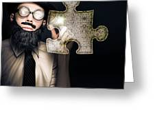 Businessman Puzzle Solving With Digital Solutions Greeting Card