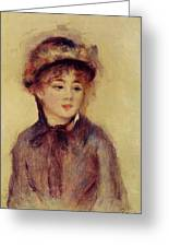 Bust Of A Woman Wearing A Hat 1881 Greeting Card