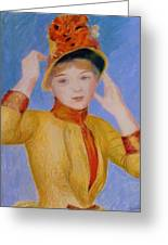 Bust Of A Woman Yellow Dress Greeting Card