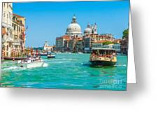 Busy Canal Grande In Venice Greeting Card