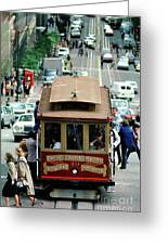 Busy Day On The California Street Cable Car Incline Greeting Card
